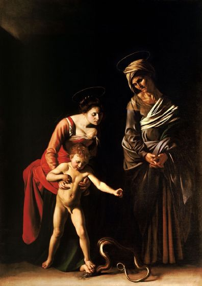 Caravaggio, Michelangelo Merisi da: Madonna with the Serpent. Fine Art Print/Poster. Sizes: A4/A3/A2/A1 (002077)